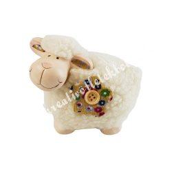 Kerámia bárány textilvirággal, balra néző, 8x10 cm