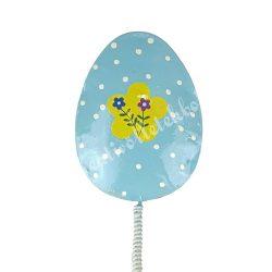 Fém beszúrós tojás, kék, sárga virágszirommal