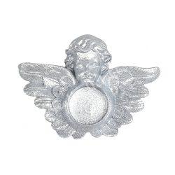 Polyresin ezüst angyalos mécsestartó