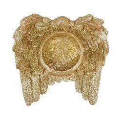 Angyalszárnyas mécsestartó, arany, 10x9,3 cm
