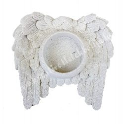 Angyalszárnyas mécsestartó, fehér, 10x9,3 cm