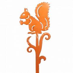 Beszúrós dísz, fém mókus, narancssárga, 17x46 cm