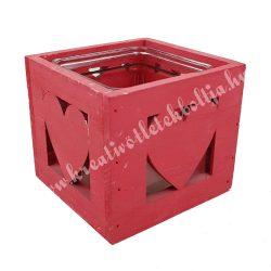 Fa mécsestartó, szívvel, üvegbetéttel, piros, 12 cm