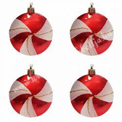 Karácsonyfadísz, cukorka, piros-fehér, 7,5 cm, 4 db/doboz