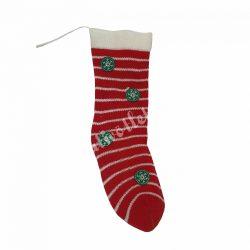 Akasztós kötött zokni, piros-fehér csíkos