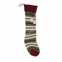 Akasztós kötött zokni, bordó-fehér-zöld csíkos