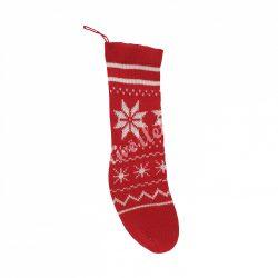 Akasztós kötött zokni, piros-fehér hópelyhes