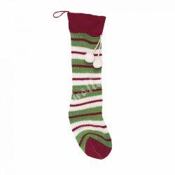 Akasztós kötött zokni, piros-fehér-zöld csíkos