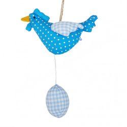 Akasztható textil tyúk tojással, kék, 22 cm