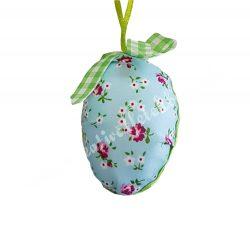 Textil tojás, rózsa mintás, kék