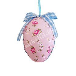 Textil tojás, rózsa mintás, rózsaszín