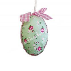 Textil tojás, rózsa mintás, zöld