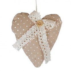Akasztós textil szív, pöttyös, csipkés, barna, 9x10,5 cm