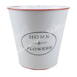 Fém kaspó, narancssárga széllel, Home Flowers felirattal, 20x19 cm