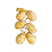 Akasztós arany színű tojás,, fehér virággal