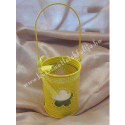 Akasztós mécsestartó, üvegbetéttel, citromsárga