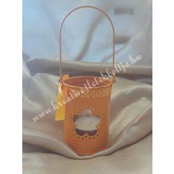 Akasztós mécsestartó, üvegbetéttel, narancssárga