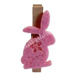 Mini facsipesz nyuszi, rózsaszín, 2x4 cm