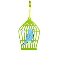 Akasztható fa kalitka fém madárral, kék-zöld