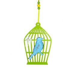 Akasztható fa kalitka fém madárral, kék-zöld, 10,5x14,5 cm
