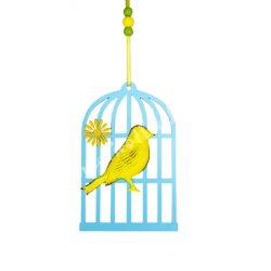 Akasztható fa kalitka fém madárral, sárga, kék