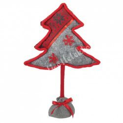 Textil fenyőfa, szürke-piros, 22x34 cm