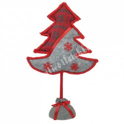 Textil fenyőfa, szürke-piros, 26x43 cm