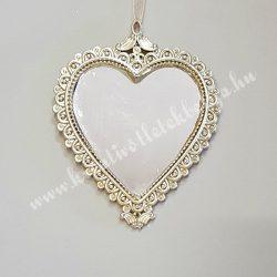 Akasztós, kétoldalas tükör, szív alakú