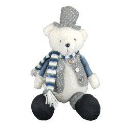 Textil maci pöttyös kalapban, 21x31 cm