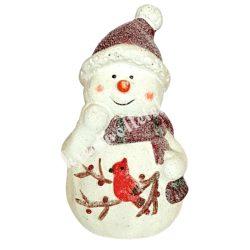 Kerámia hóember, piros sapkával