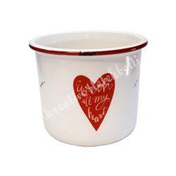 Kerámia kaspó piros szívvel, felirattal