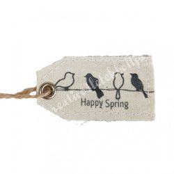 Textil címke madarakkal, 15x4 cm