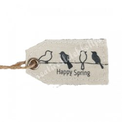 Textil címke madarakkal, 10x2,6 cm