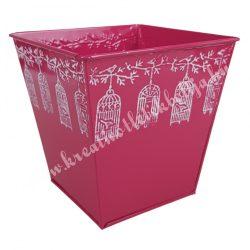 Fém kaspó, pink, fehér kalitkákkal, 13x13 cm