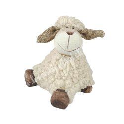 Bolyhos, hátra támaszkodó bárány, bézs, 12x11 cm