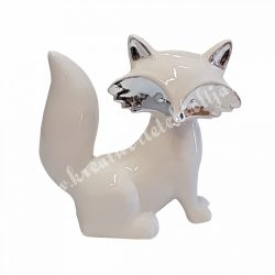Porcelán róka, fehér, ezüst, 15x14,5 cm