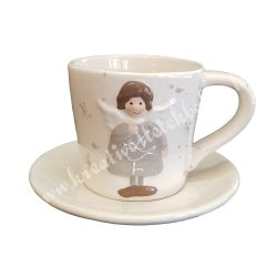 Kerámia csésze aljjal, fehér, 12x8 cm