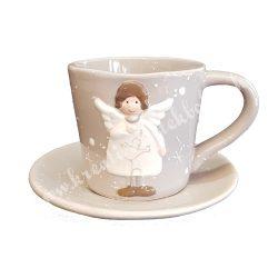 Kerámia csésze aljjal, szürke, 12x8 cm