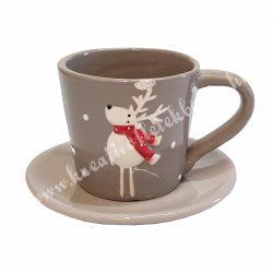 Kerámia csésze aljjal, rénszarvas, piros sállal