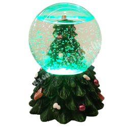 Hógömb fenyőfával, led világítással, 6x7,3 cm