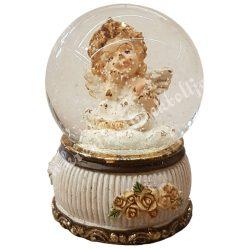 Hógömb angyallal, gondolkodó, 4,5x6,5 cm