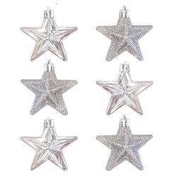 Karácsonyfadísz, csillag, ezüst, 6 cm, 6 db/doboz