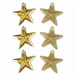 Karácsonyfadísz, csillag, arany, 7 cm, 6 db/doboz