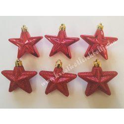Karácsonyfadísz, csillag, piros, 6 cm, 6 darab