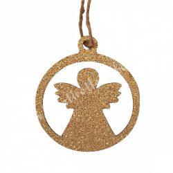 Akasztós angyal, csillogós arany, 9 cm