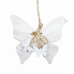 Akasztós dísz, fa pillangó, fehér