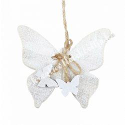 Akasztós fa pillangó, fehér, 9,5x16 cm