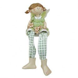 Lógó lábú kislány, zöld, 6x18 cm