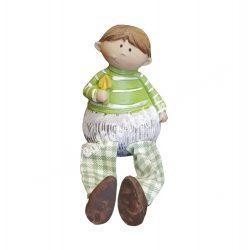 Zöld ruhás, lógó lábú fiú, 6x8 cm