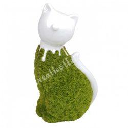 Porcelán cica, műfüves, fehér-zöld, 9x15cm